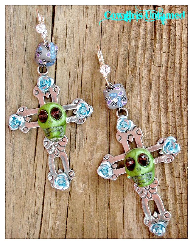 COWGIRL GYPSY EARRINGS Large PEWTER Handmade Cross Green Turquoise Skull Purple Crystal N Floral Rhinestone Earrings