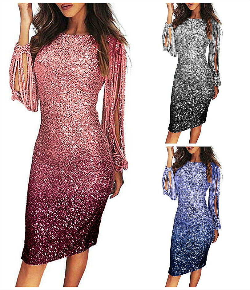 THE STARDUST DRESS Ombre Sparkle Tassel Long Sleeve Fitted Bodycon Party Dress 3 COLORS S-2X