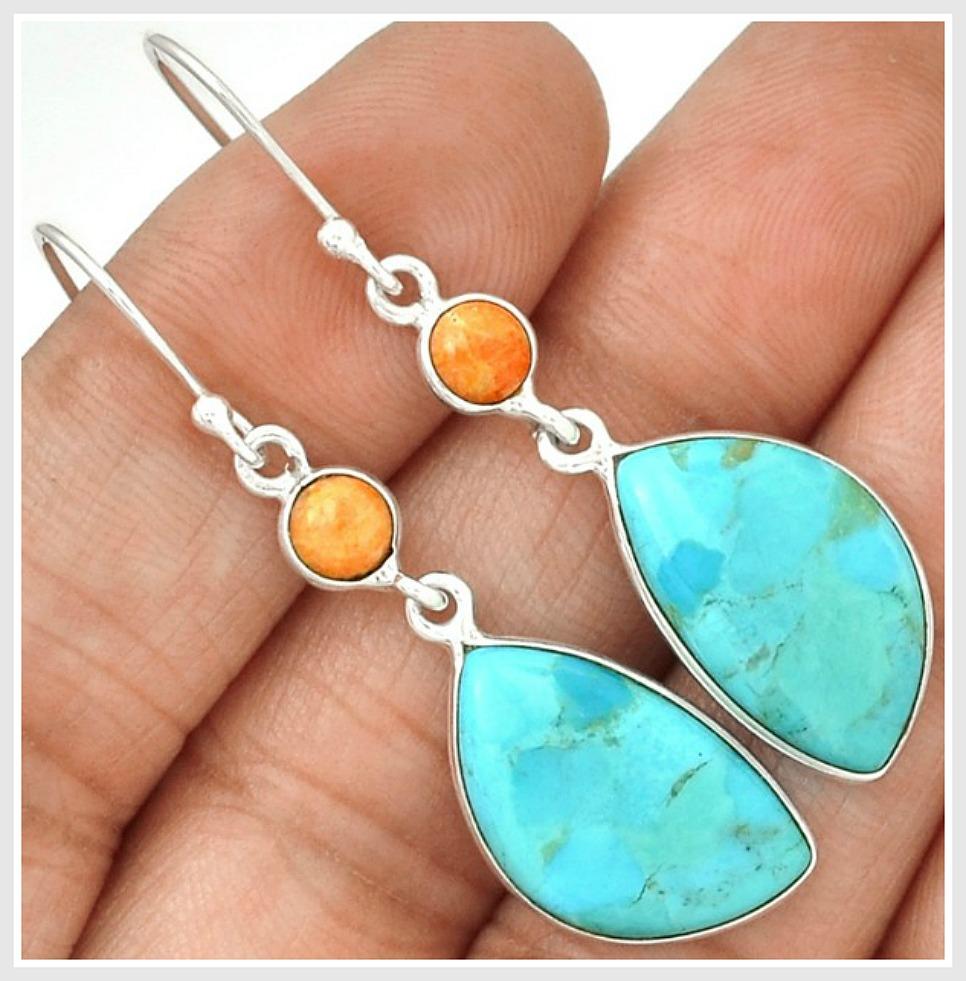 WILDFLOWER EARRINGS Orange Coral & Sleeping Beauty Aqua Turquoise 925SS Earrings