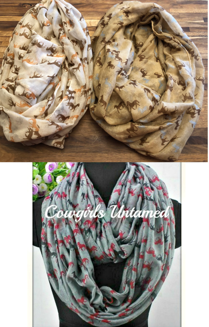 WESTERN COWGIRL SCARF Mini Horse Long Infinity Scarf  2 COLORS!
