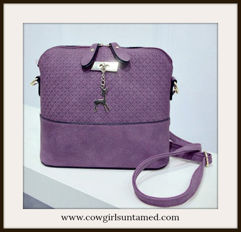 COWGIRL GLAM HANDBAG Small Purple Shoulder Bag with Gold Deer Charm