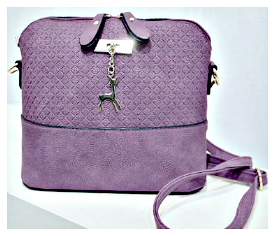 OH DEER HANDBAG Small Purple Shoulder Bag with Gold Deer Charm
