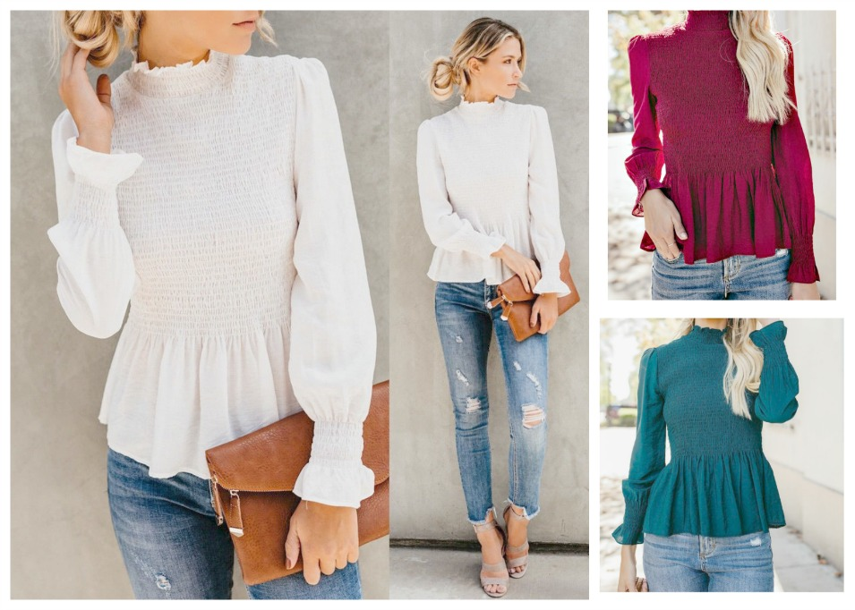 NOW & THEN TOP High Neck Long Sleeve Ruffle Cuff Smocked Peplum Top