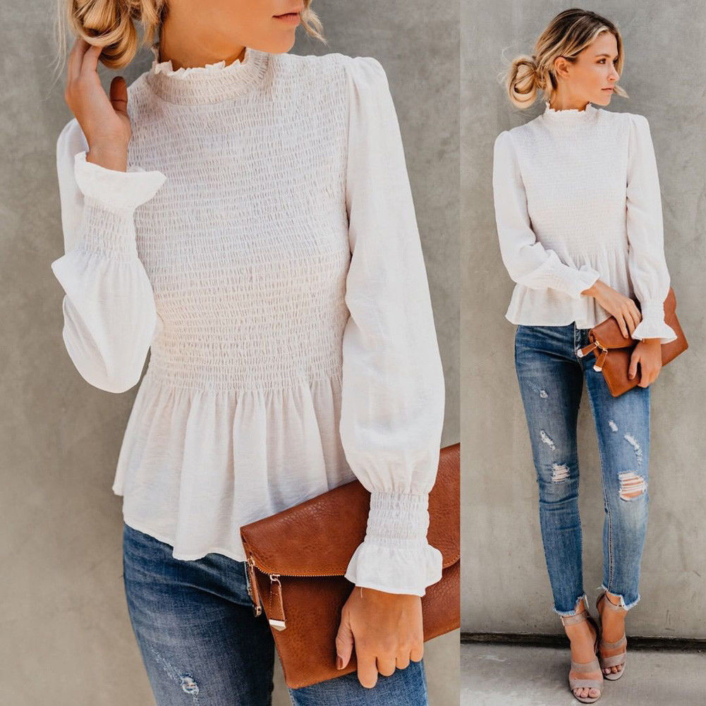 NOW & THEN TOP White High Neck Long Sleeve Ruffle Cuff Smocked Peplum Top LAST ONE L/XL