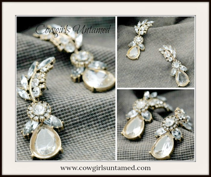 VINTAGE APPEAL EARRINGS Clear Rhinestone Leaf Water Drop Earrings