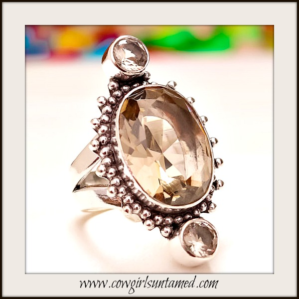 COWGIRL GYPSY RING Smokey Topaz Sterling Silver Ring