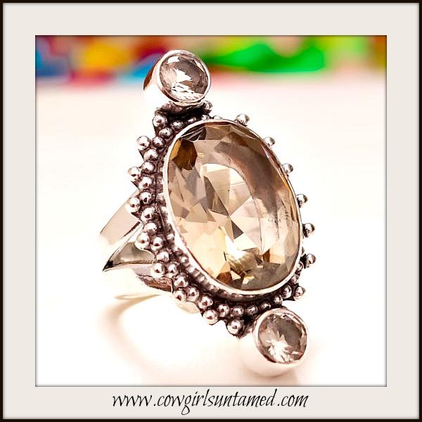 COWGIRL GYPSY RING Smokey Topaz Sterling Silver Ring