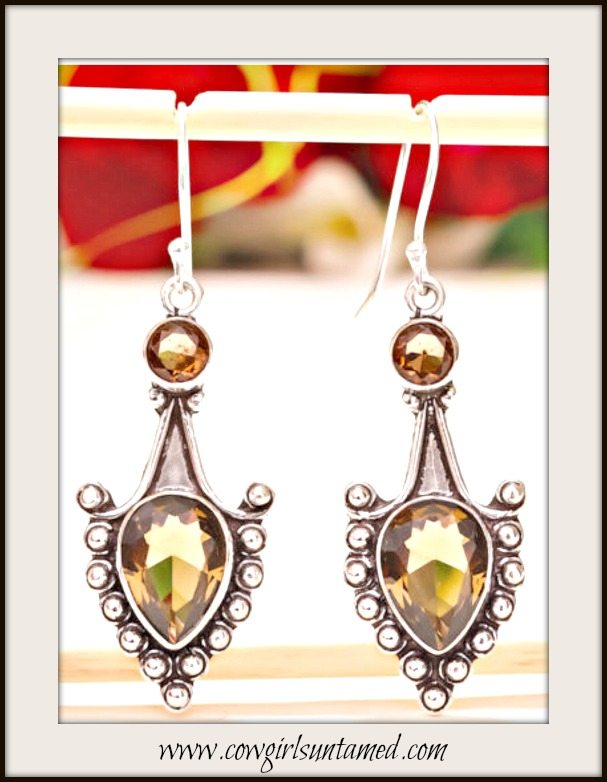 COWGIRL GYPSY EARRINGS Vintage Style Smokey Topaz Gemstone 925 Sterling Silver Earrings