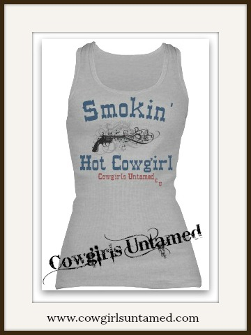 "COWGIRL ATTITUDE TANK TOP  Black Smoking Pistol and Blue with Red ""Smokin' Hot Cowgirl"" Western Tank Top"
