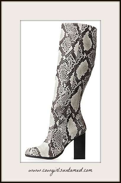 DESIGNER BOOTS Faux Snakeskin Over the Knee Boots