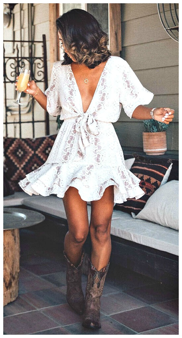 INTO THE WILD DRESS White Short Sleeve Snake Print Tie Waist Deep V neck Short Boho Dress S-XL