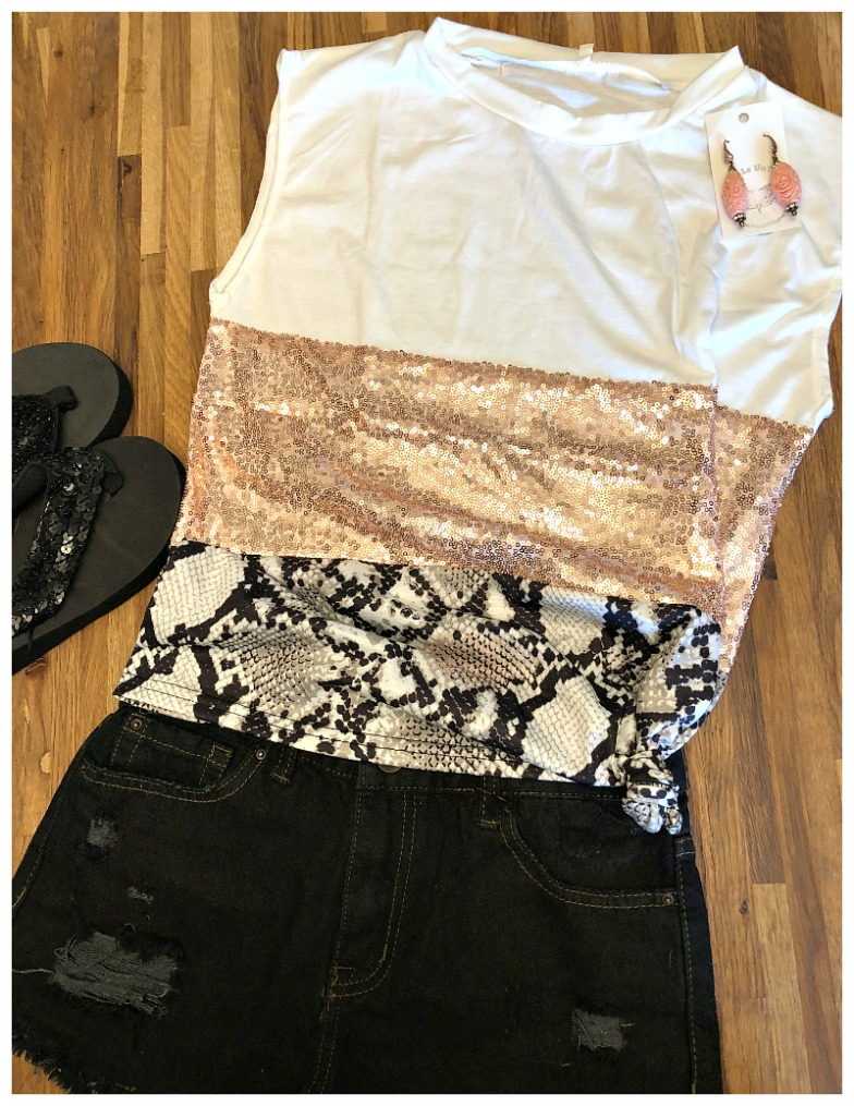 ON THE WILD SIDE TOP Pink Sequin Black Brown Snakeskin Stripe Crew Neck White Tank Top ONLY 2 LEFT!