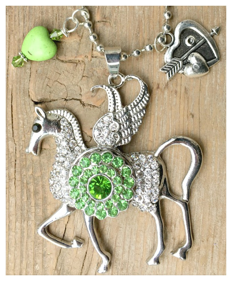 COWGIRL STYLE NECKLACE Rhinestone Silver Winged Horse with Green REMOVABLE Crystal Snap Pendant Charm Necklace