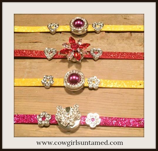 """BUCKLE UP BRACELET Rhinestone Charms Glitter """"SNAP"""" Bracelets  4 STYLES"""