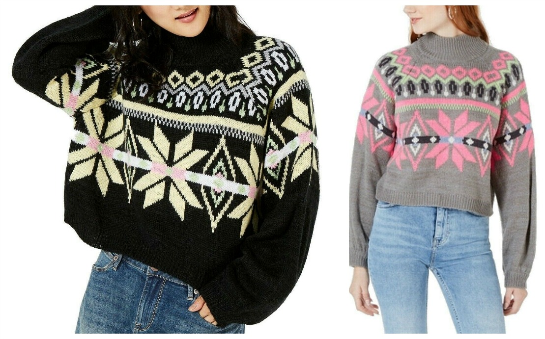 THE SNOWFLAKE SWEATER Soft & Cozy Multi Color Mock Turtleneck Snowflake Knit Pullover Womens Sweater 2 COLORS S-XL