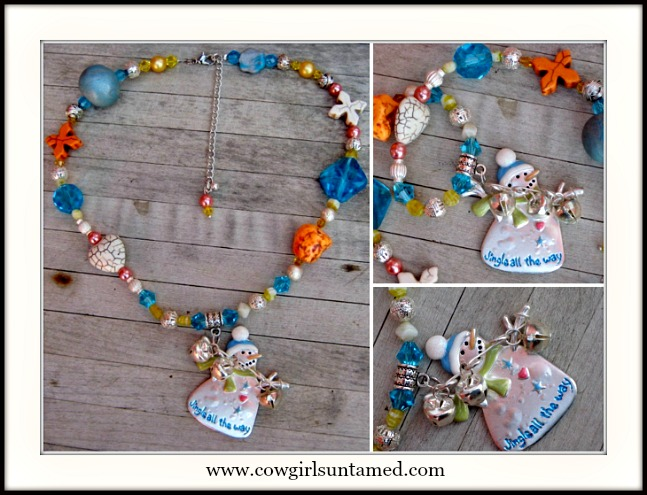 "COWGIRL CHRISTMAS NECKLACE ""JINGLE ALL THE WAY"" Pendant Turquoise Crystal Necklace"