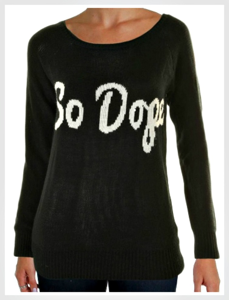 """SO DOPE SWEATER """"So Dope"""" White and Black Womens Pullover Sweater L or XL LAST ONES"""