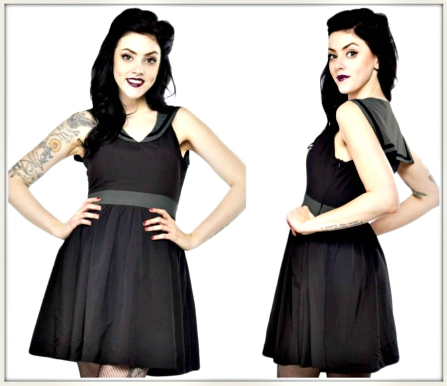 "SOURPUSS CLOTHING DRESS Black & Grey ""Dark Sailor"" Collar Sleeveless Mini Dress PLUS SIZE"