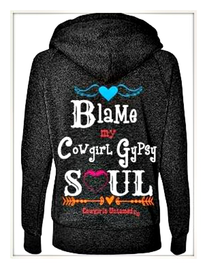 "COWGIRL GYPSY SWEATSHIRT ""Blame My Cowgirl Gypsy Soul"" Feather Heart Zip Front Boho Hoodie LAST ONE S/M"