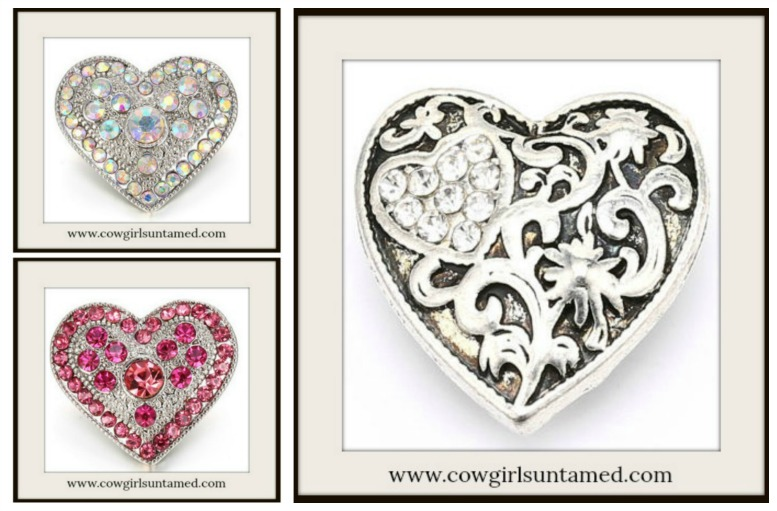 SNAP ON JEWELRY BUTTONS Crystal Silver Hearts