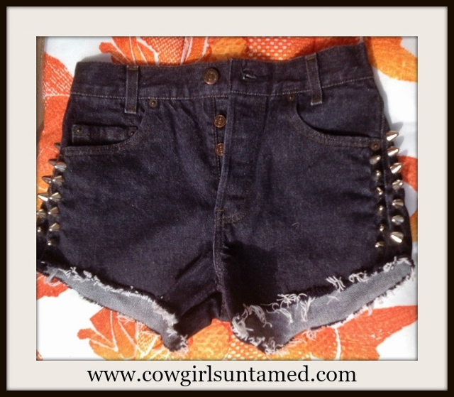 COWGIRLS ROCK SHORTS High Waisted 4 Button Cut Off Shorts with Spike Sides