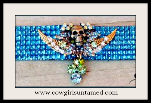 COWGIRLS ROCK BRACELET Green and Blue rhinestone Bronze Skull on Bright Blue Crystal Silver Buckle Cuff Bracelet