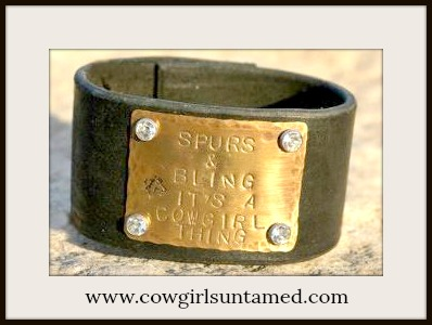 "COWGIRL STYLE CUFF ""Spurs N Bling It's a Cowgirl thing"" With Rhinestone Rivets N Horse Stamp on Black"
