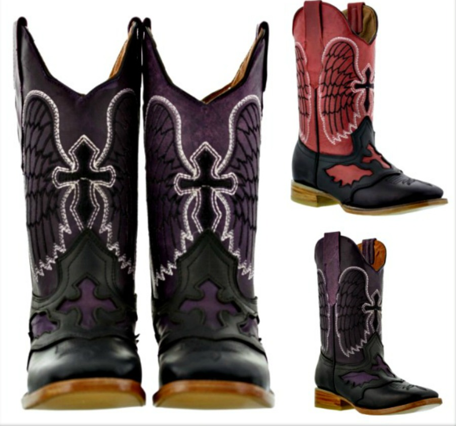 COWGIRL STYLE BOOTS Angel Winged Black Crosses on Distressed Genuine Leather Cowgirl Boots