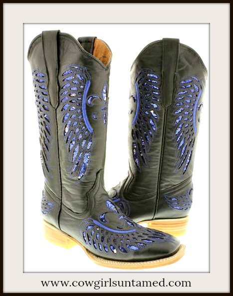 COWGIRL STYLE BOOTS Blue Sequin Fleur De Lis Square Toe Black GENUINE LEATHER Boots