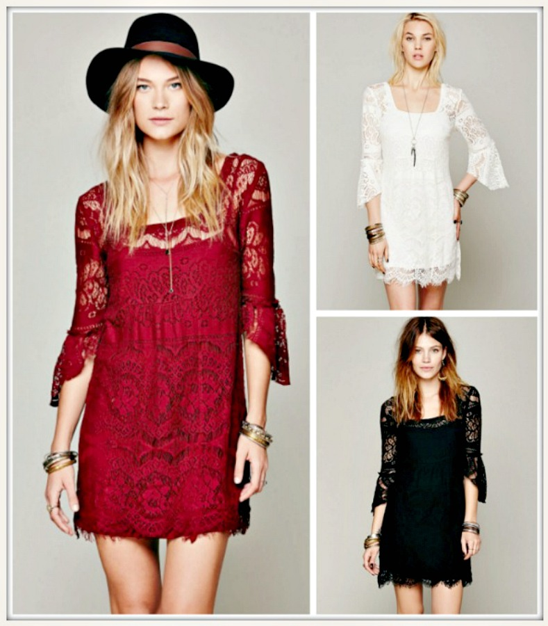 THE ZOEY DRESS Lace 3/4 Sleeve Square Neck Boho Mini Dress  Free Slip 3 COLORS!