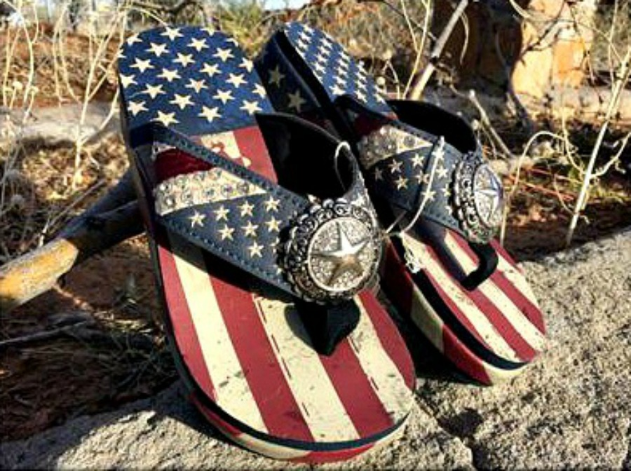 America First Red White Blue Stars And Stripes Rhinestone Star Concho Flip Flops Flag USA American Sandals Shoes