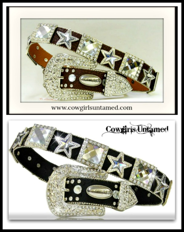 COWGIRL STYLE BELT Crystal Star & Square Concho Black leather Belt
