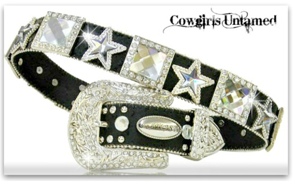 COWGIRL STYLE BELT Crystal Star & Square Concho Black Leather Belt LAST ONE Large