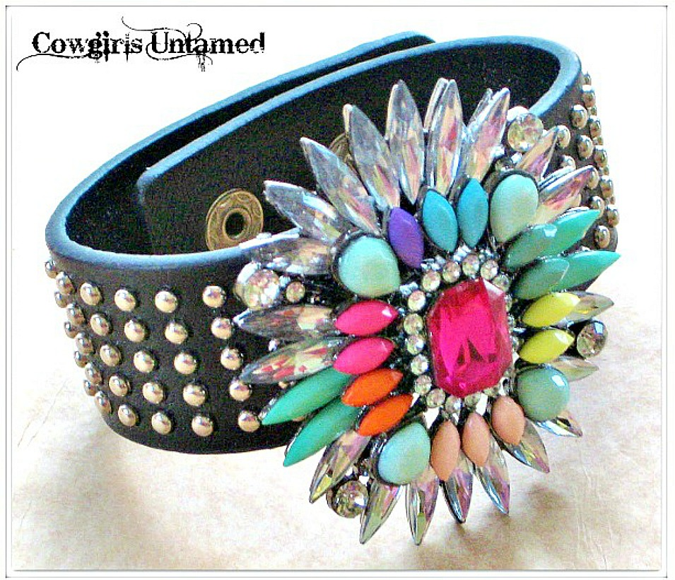 GOING GLAM CUFF Custom Silver Studded Faux Leather with Multi Color Rhinestone Starbust Accent Bracelet