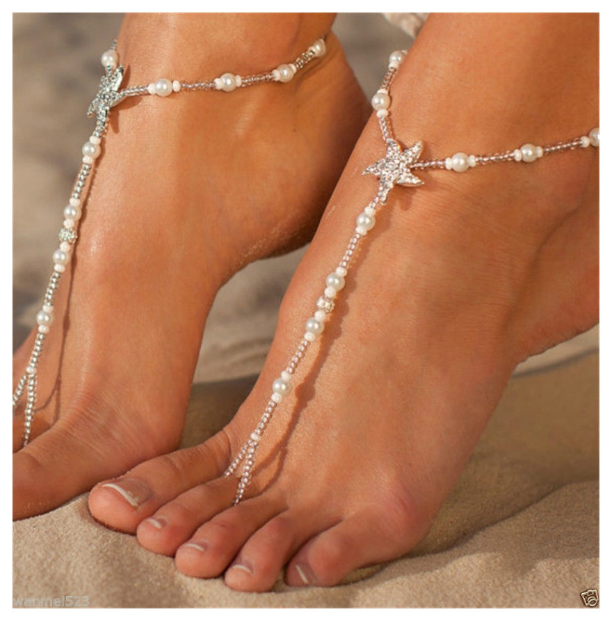 WILDFLOWER ANKLET TOE RING SET Rhinestone Starfish on Pearl Stretchy Boho Anklet Toe Ring Set