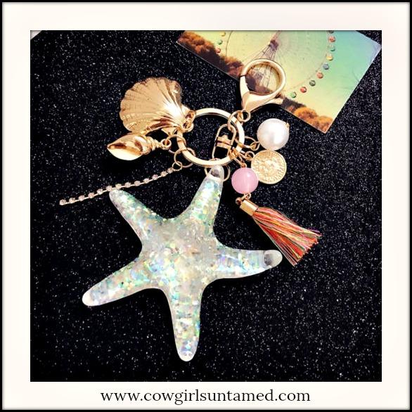 SUNDANCE COWGIRL KEY RING Large Sparkling Starfish Shell Pearl Charm Key Ring Purse Accessory
