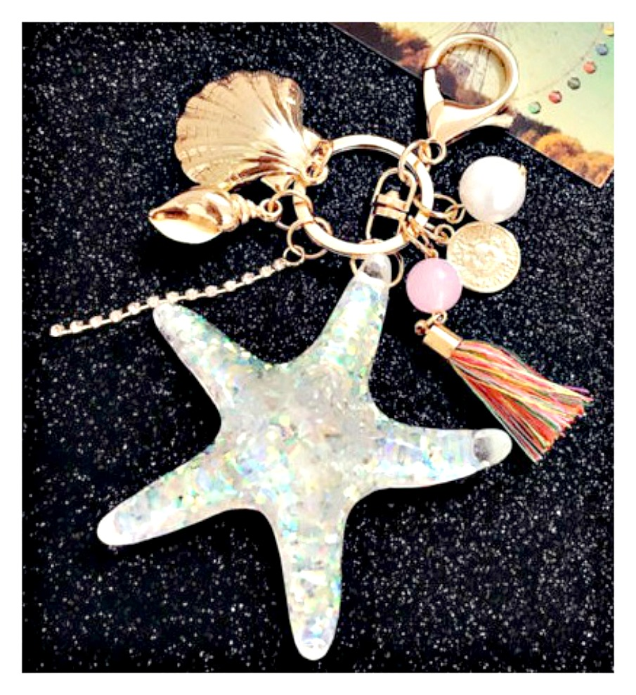 THE STARFISH KEY RING Large Sparkling Starfish Shell Pearl Charm Key Ring Purse Accessory