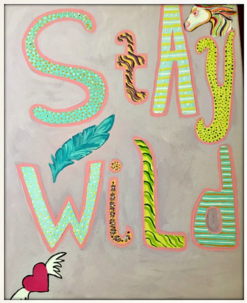 "BOHEMIAN COWGIRL PAINTING ""Stay Wild"" Mixed Pattern Quote Hand Painted Wall Art"