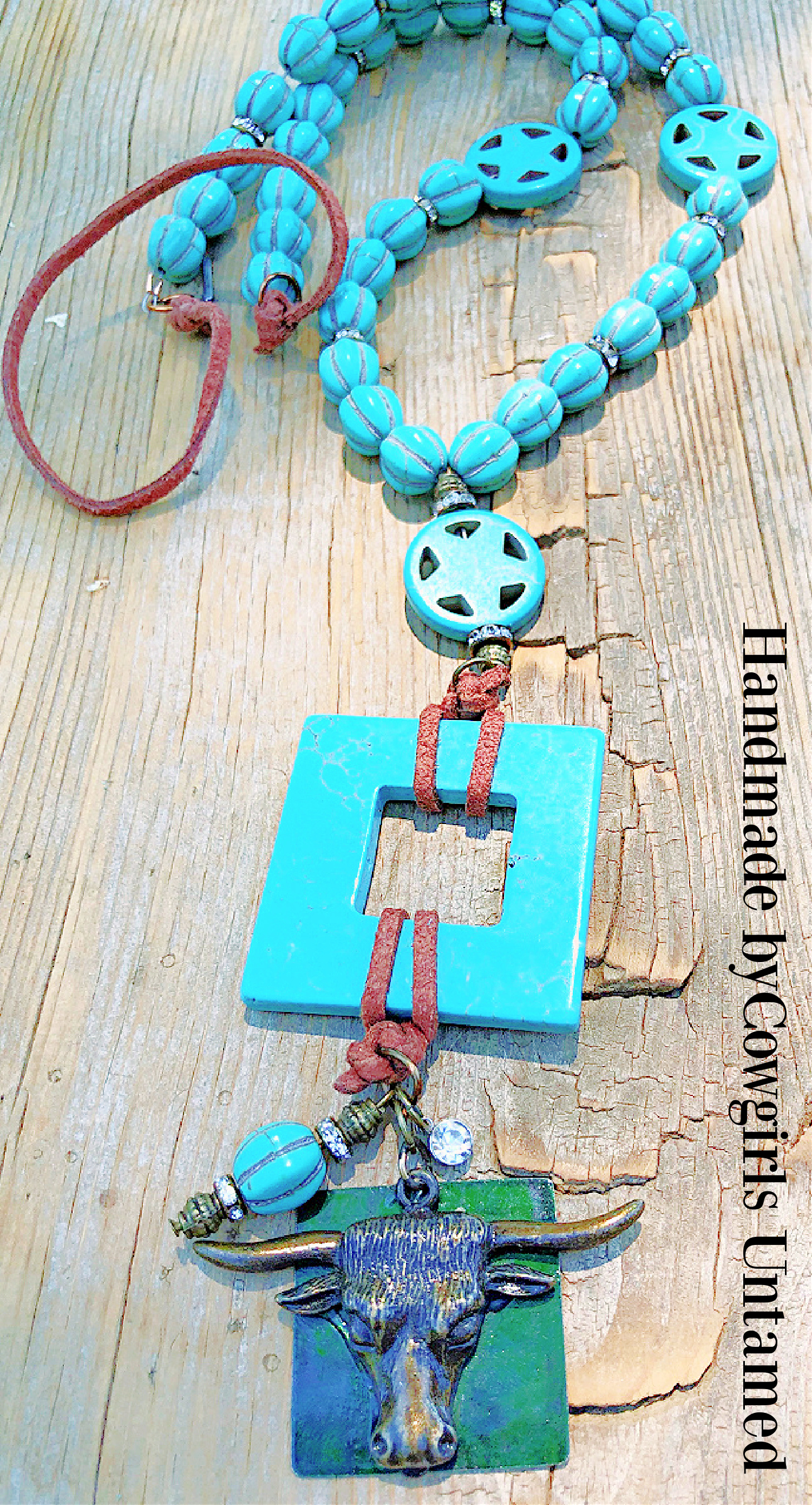 DON'T STEER ME WRONG NECKLACE Antique Bronze Steer Head Turquoise Star Necklace