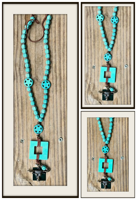WESTERN COWGIRL NECKLACE Antique Bronze Steer Head Turquoise Star Necklace