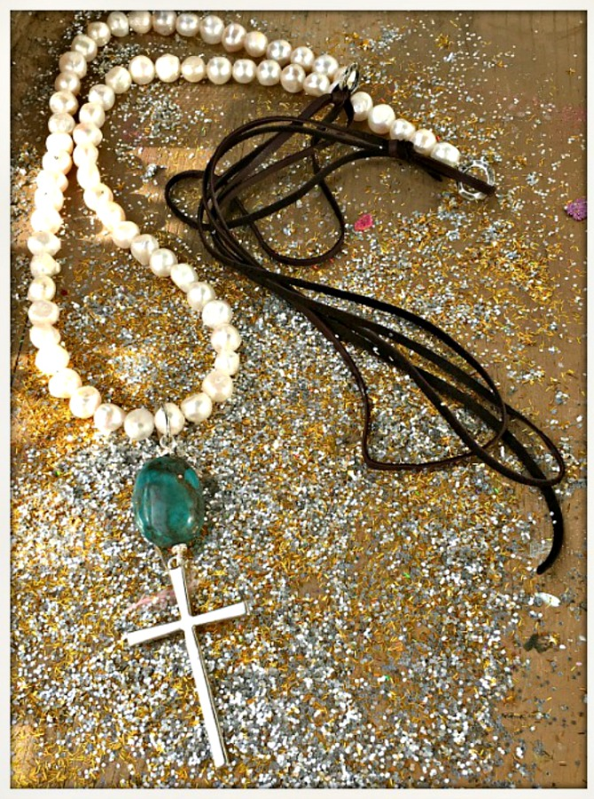 COWGIRL STYLE NECKLACE Turquoise & Silver Cross Pendant on Saltwater Pearl & Leather Long Necklace