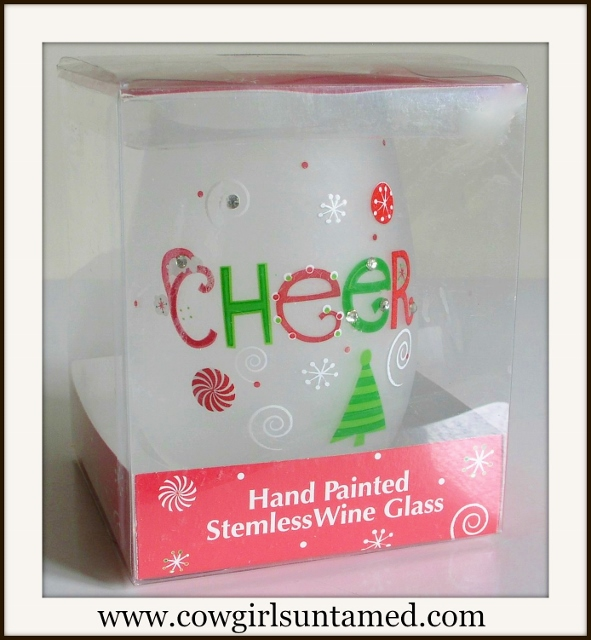 "HOLIDAY HOME DECOR ""Cheers"" Red Green White Snowflake Stemless Wine Glass"
