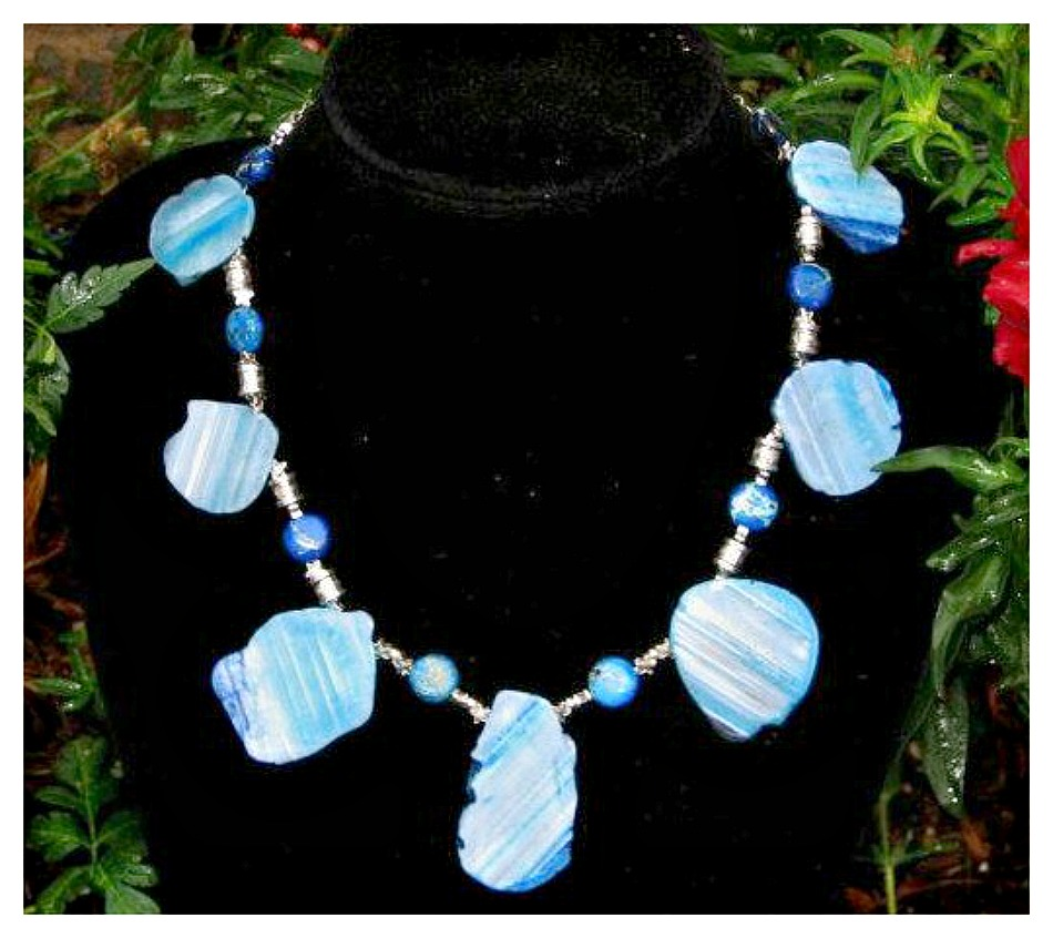 COWGIRL STYLE NECKLACE Sterling Silver Blue Agate Jasper Gemstone Chunky Statement Western Necklace