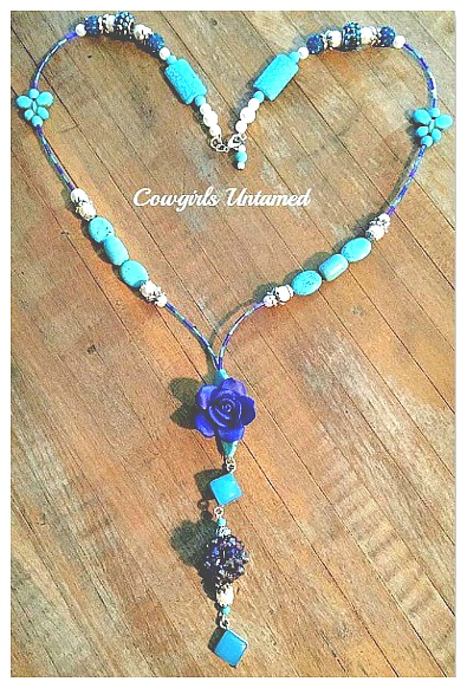 WILDFLOWER NECKLACE 925SS Gemstone Pearl Cobalt Blue Flower Pendant Beaded Necklace