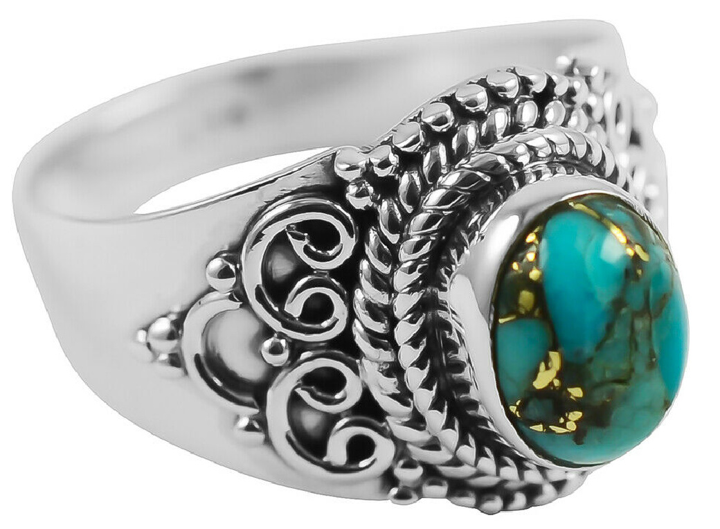 BOHO TURQUOISE RING Copper Turquoise 925 Sterling Silver Jewelry Womens Ring  SIZE 8