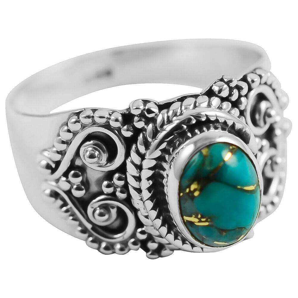 BOHO TURQUOISE RING Copper Turquoise 925 Sterling Silver Heart Detail Womens Ring SIZE 8