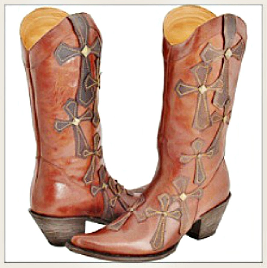 COWGIRL STYLE BOOTS Layered Cross Shakeera Brown GENUINE Leather Stetson Western Boots