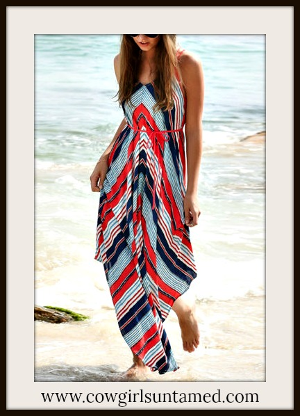 BOHEMIAN COWGIRL DRESS Red & Blue Striped Maxi Dress with FREE BELT