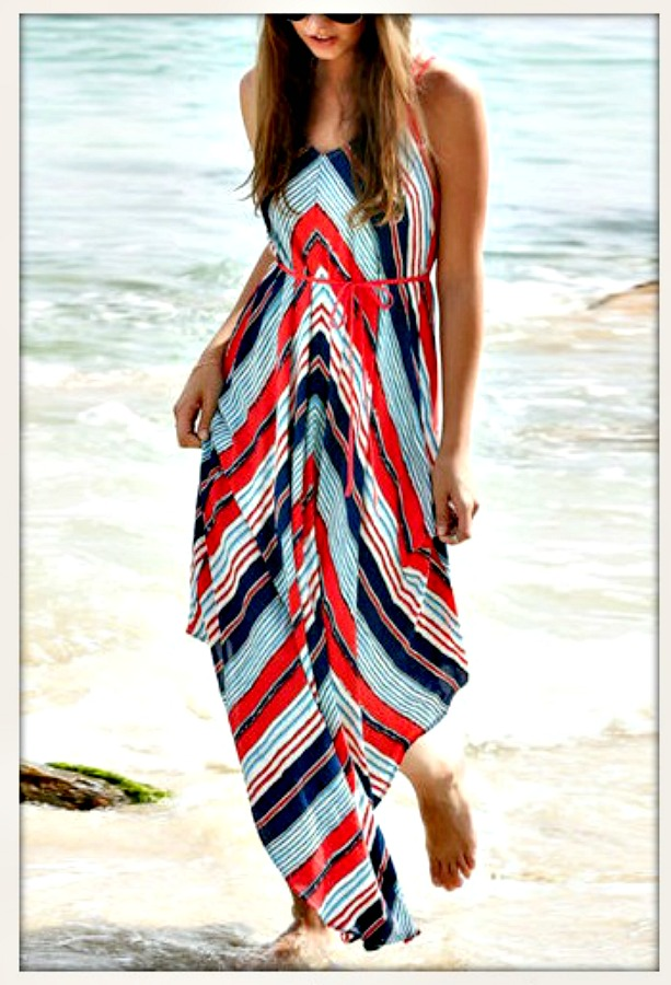 BOHEMIAN COWGIRL DRESS Red & Blue Striped Boho Maxi Dress with FREE BELT S/M or L/XL