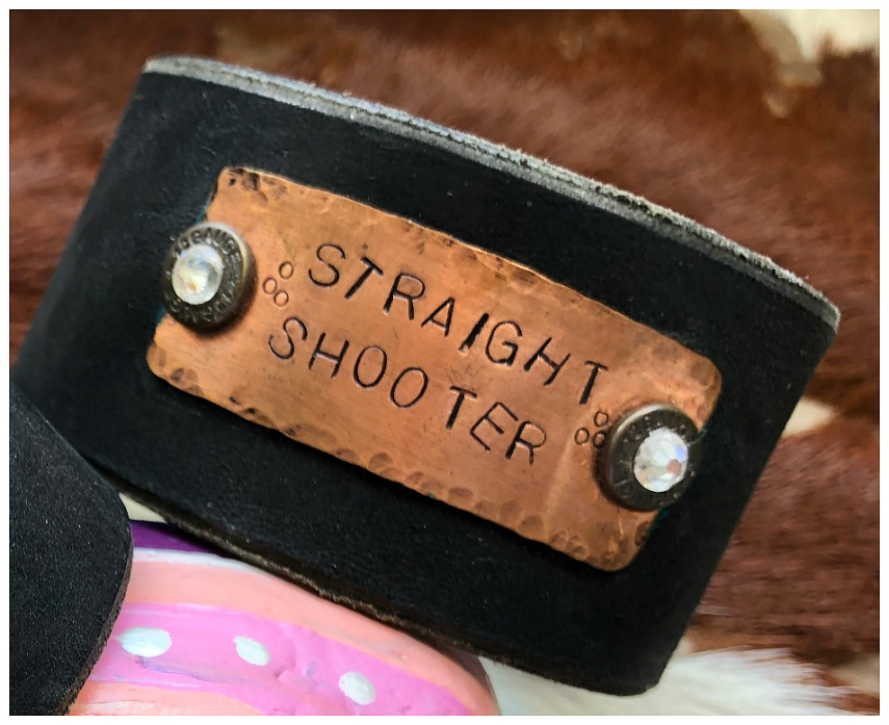 "COWGIRL OUTLAW CUFF ""Straight Shooter"" on Copper with 12 Gauge Bullet GENUINE Black LEATHER Western Bracelet"